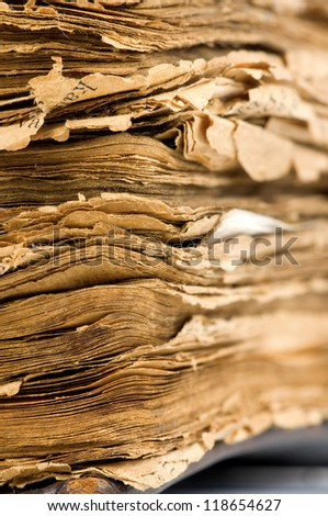Closeup of old book pages texture