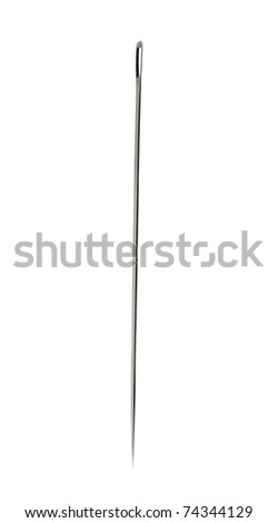 closeup of old extra large needle on a white background #74344129