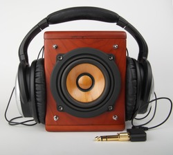 Closeup of old loudspeaker and headset