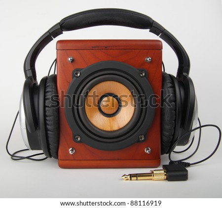 Stock Photo Closeup of old loudspeaker and headset