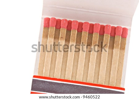 Closeup of old matchbook isolated on a white background.