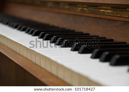 Closeup of old piano keyboard.