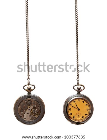 Closeup of old pocket watch isolated on white background