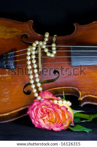 Closeup of old violin, variegated pink and yellow rose, and a string of pearls on black background