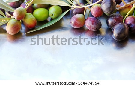 Closeup of olives background