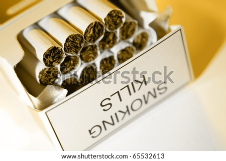 Closeup of open packet of cigarettes