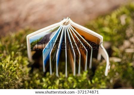 Closeup of opened mini photo album - book. Education concept.