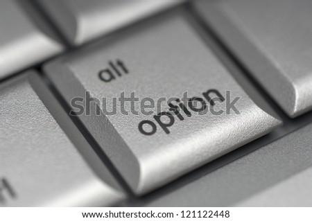 Closeup of option shortcut key on computer keyboard