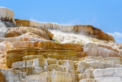 Closeup of Palette Spring, Travertine Terrace, Mammoth Hot Springs, Yellowstone Park, USA