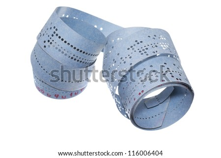 closeup of perforated punched tape is isolated on white background