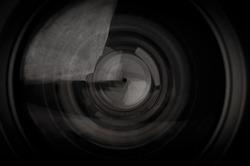 closeup of photo camera lens background