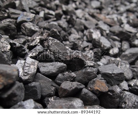 Closeup of pile of black coal.