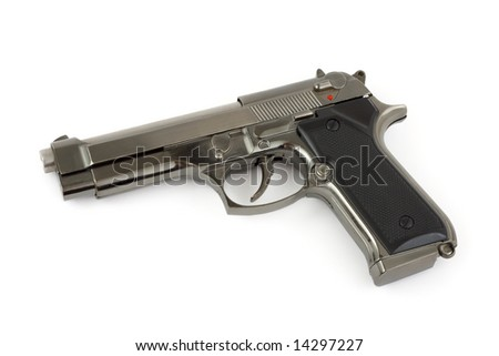 Closeup of pistol isolated on white background