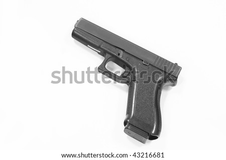 Closeup of pistol isolated over a white background