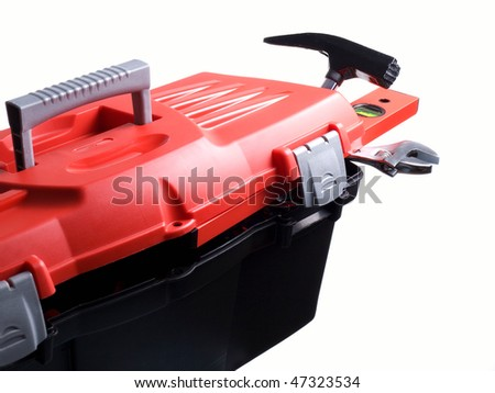 Closeup of plastic toolbox isolated on a white background. - stock photo
