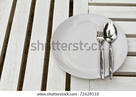 closeup of plate on old white wood table