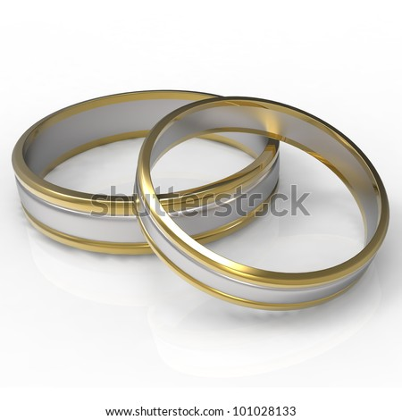 Closeup of Platinum and Gold wedding bands with clipping path on a white background.