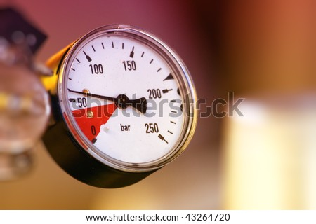 Closeup of pressure meter
