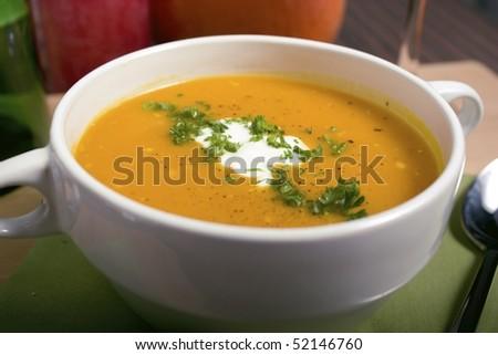 Closeup of pumpkin soup. - stock photo