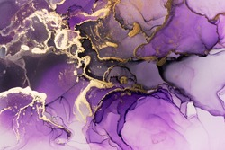 Closeup of purple and shiny golden alcohol ink abstract texture, trendy wallpaper. Art for design project as background for invitation or greeting cards, flyer, poster, presentation, wrapping paper