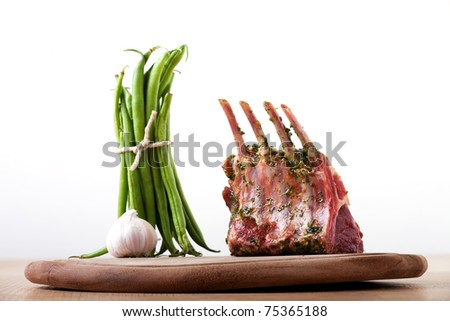 closeup of raw lamb chops