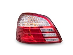 Closeup of rear light of car isolated on white background, Clipping path included.
