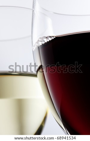 Closeup of red and white wine - stock photo