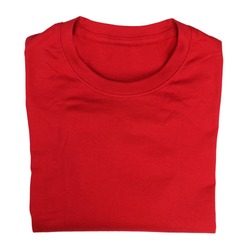 Closeup of red folded t-shirt isolated on white background
