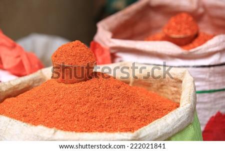 closeup of red spicy pepper powder