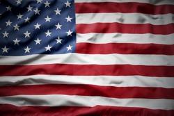 Closeup of rippled American flag