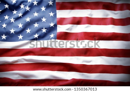 Closeup of rippled American flag #1350367013