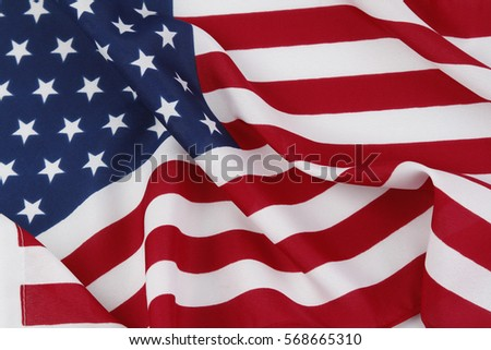 Closeup of rippled American flag #568665310