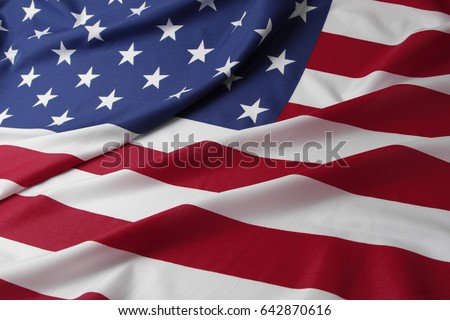 Closeup of rippled American flag #642870616