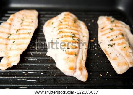 Closeup of Rock Fish Grilled on Griddle with Some Herbs and Spices