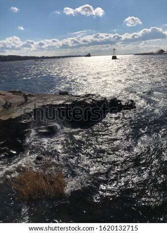Closeup of rocky shoreline in January
