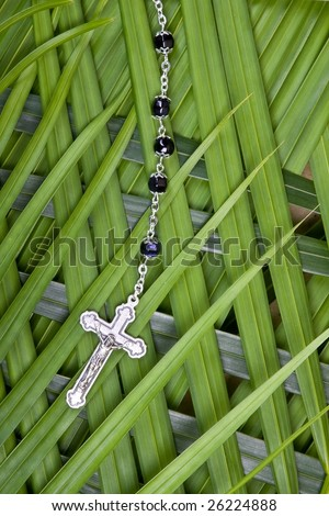 closeup of rosary and crucifix on palm leaves - palm sunday - stock photo