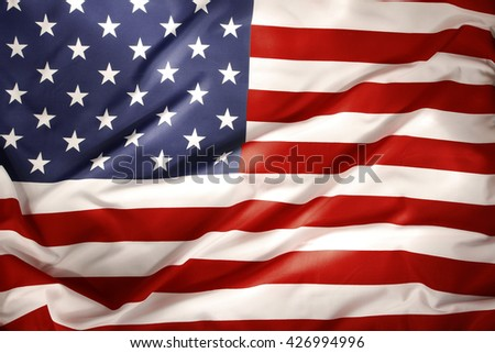 Closeup of ruffled American flag