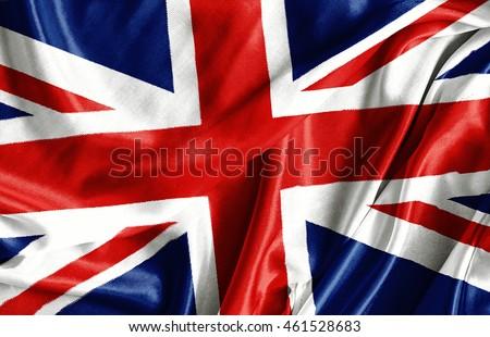 Closeup of ruffled British flag - fabric background #461528683