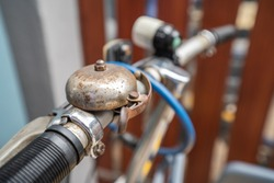 Closeup of rusted bicycle bell
