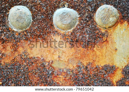 Closeup of rusty metal is old and dirty
