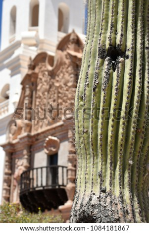 Closeup of Saguaro cactus with bird hole and San Xavier del Bac Mission built in the 1700's blurred in the background