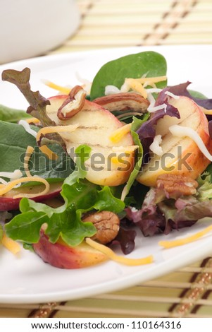 Closeup of salad with grilled apples, baby spinach, pecans, spring mix and chedar cheese served for healthy lunch