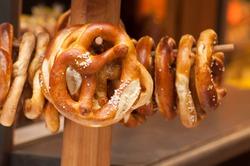 closeup of salted pretzels  in traditional alsatian store