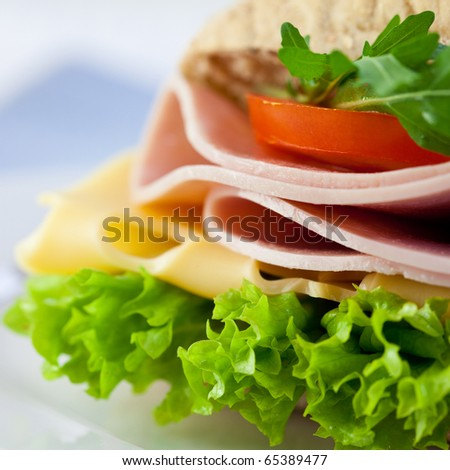 Closeup of sandwich with ham cheese and fresh vegetables
