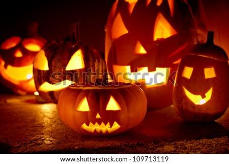 closeup of scary halloween pumpkins