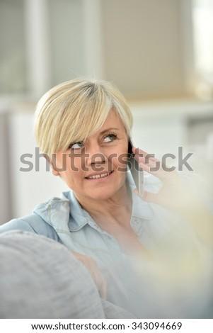 closeup of senior woman talking ...
