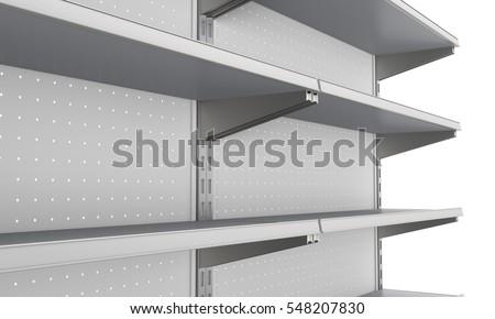 closeup of set of shelves front perspective in supermarket. 3D rendering