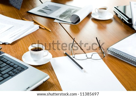 Closeup of several business objects on the table