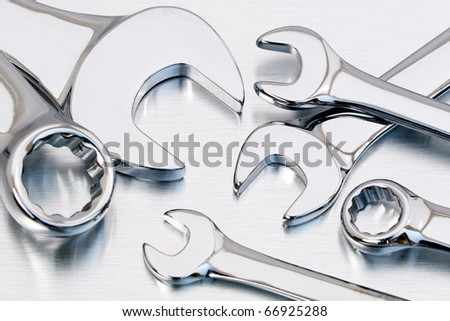 Closeup Of Several Different Kinds Of Open Or Ring Wrenches Or ...