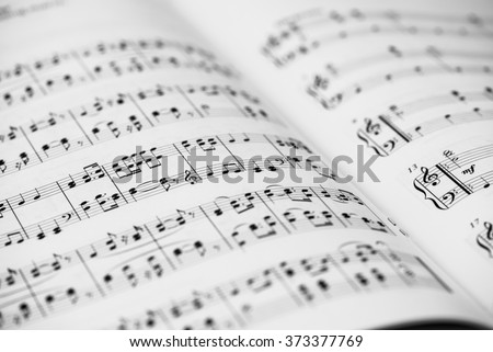 Closeup of Sheet Music. Musical Notes with Selective Focus. #373377769